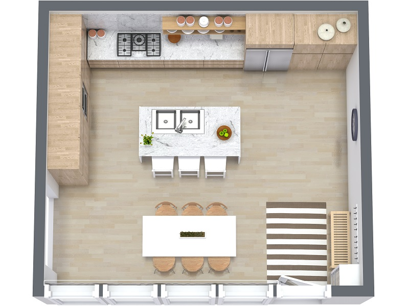 Kitchen floor plans visualize your kitchen layout ideas in 3D with a kitchen layout tool.  FHXTQYW
