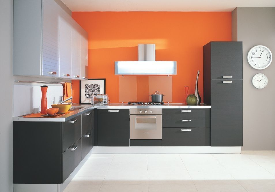 Kitchen furniture Kitchen: orange walls and gray cabinets ok it needs more cabinets and VCKHHAX
