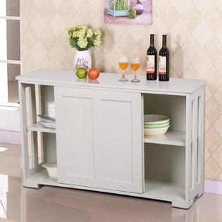 Kitchen cabinet yaheetech antique white stackable sideboard buffet cabinet with sliding door VMOCYBN