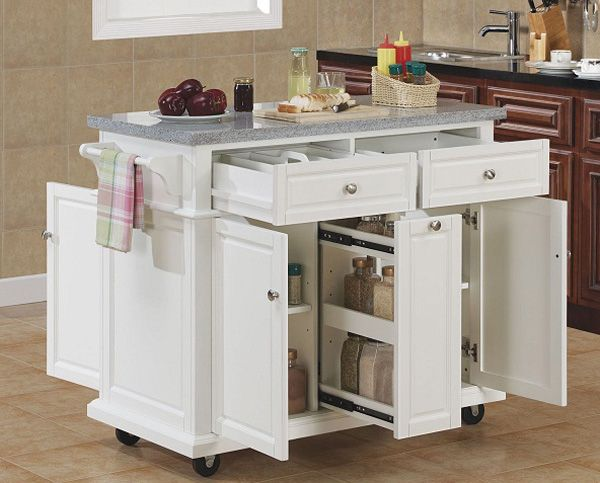 Small kitchen island with storage space    Movable kitchen island, mobile.