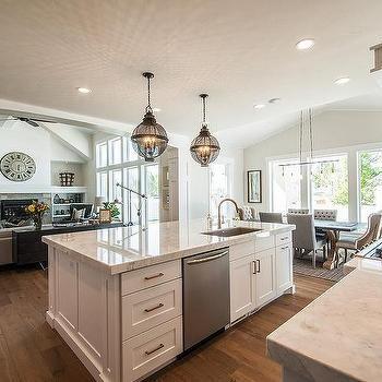 Kitchen island sink with dishwasher, transitional kitchen, kitchen.
