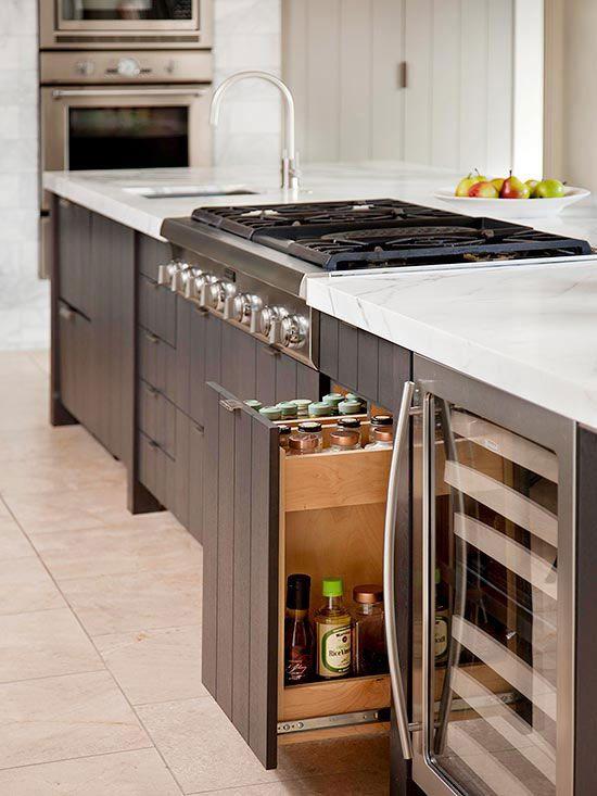 Storage ideas for kitchen islands |  Kitchen island with sink, kitchen.