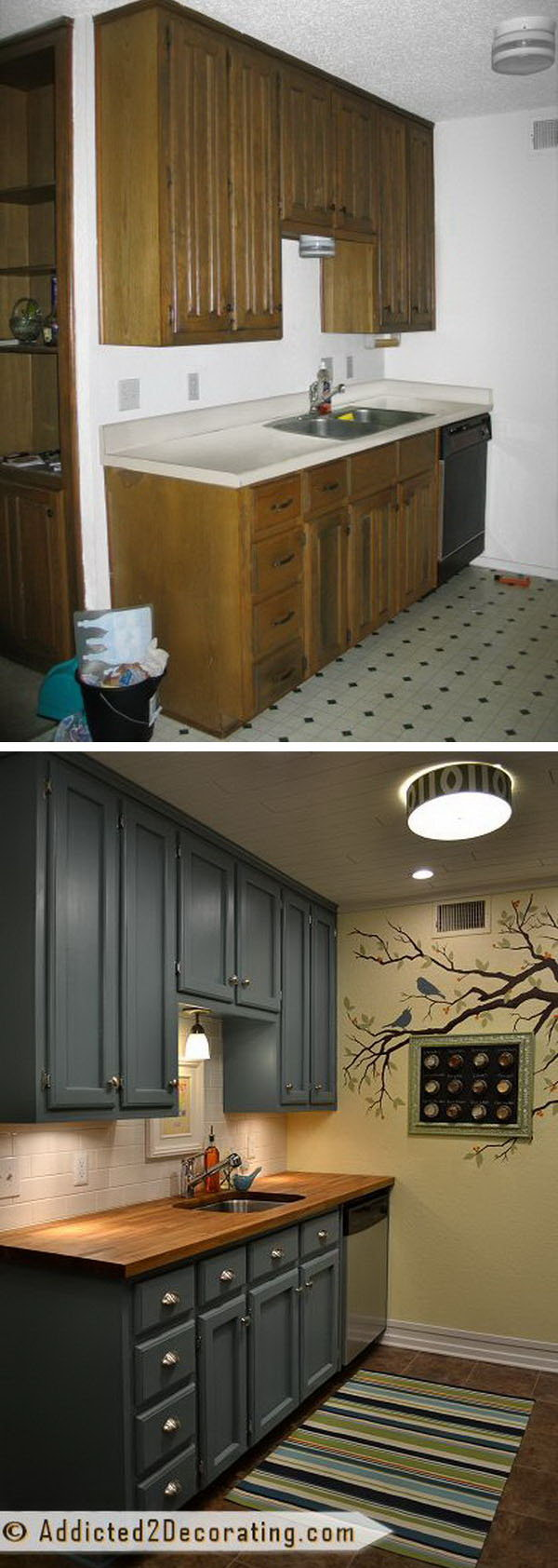 Kitchen rejuvenation before and after: small little kitchen cheap makeover FMDYJSI