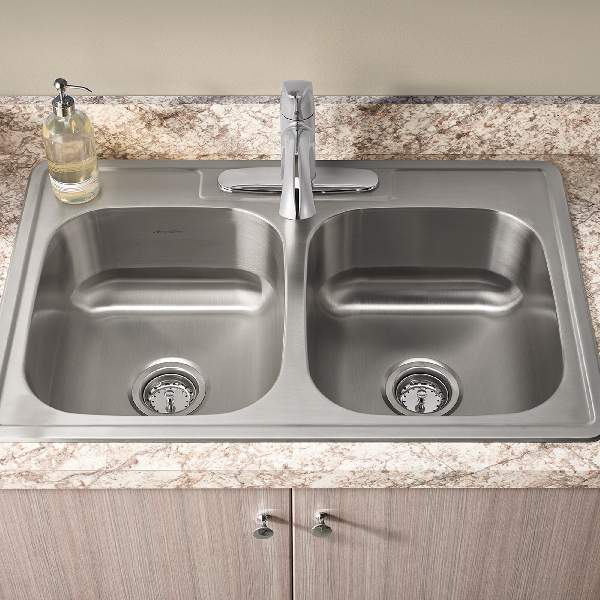 Kitchen sinks Colony ada 33x22 inch double sink kit with faucet YYSGTJR