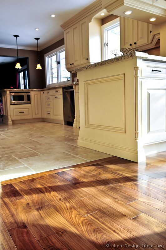 Kitchen tile floor # Kitchen idea of the day: perfectly flowing transition from parquet floor UXBHBPP
