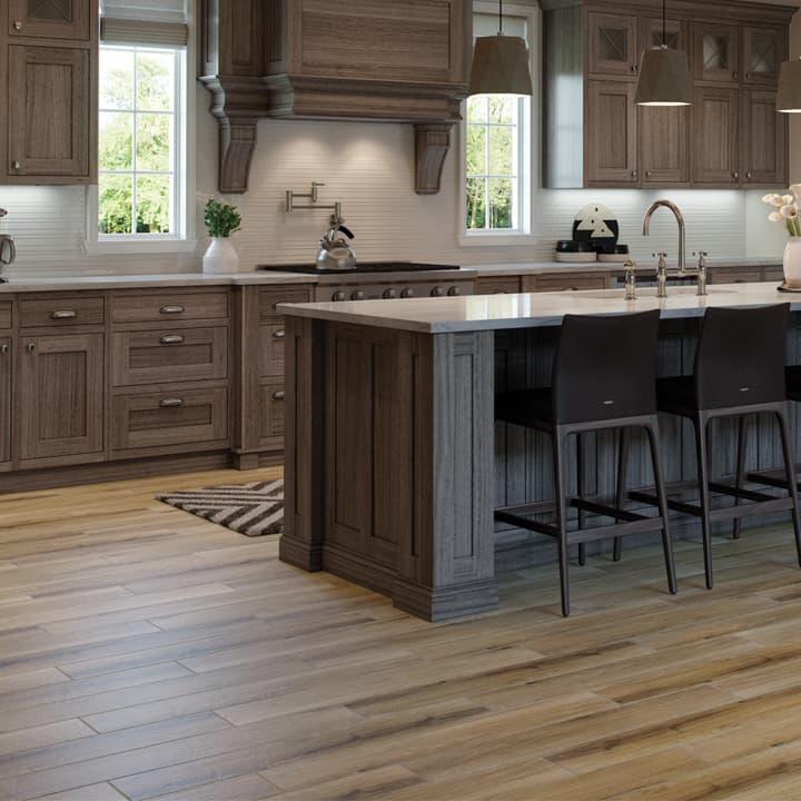 Kitchen tile floor Tiles in wood look on the kitchen floor BEJRGDS