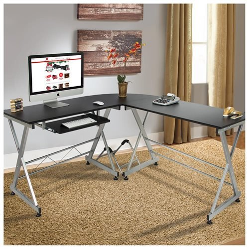 L-shaped corner wooden desk - black 0 XQJMLIR