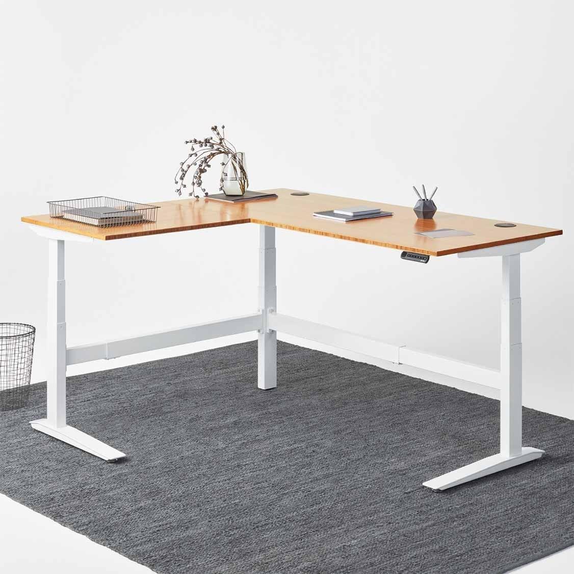 l-shaped desk jarvis l-shaped bamboo high table ... XBUGWHJ