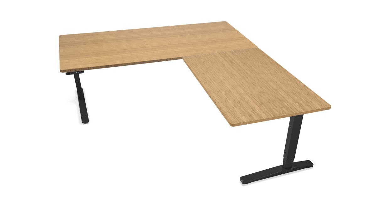 L-shaped desk tops made of laminate and bamboo are 1 EESAWGY