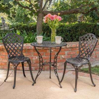 la sola black with bronze 3-piece round outdoor bistro set made of metal CDFPLPI