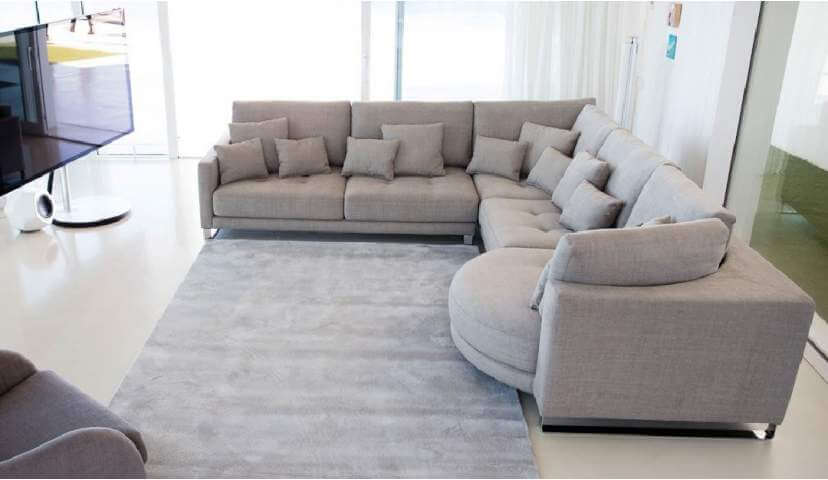 The home and a large corner sofas
