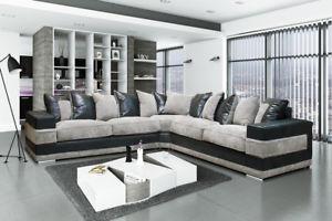 large corner-sofas image is loading kudos-large-corner-sofa-fabric-black-amp-gray- OUOAPCM