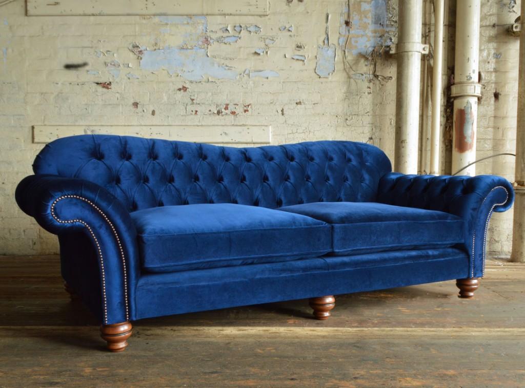 large handmade navy Hammersmith velvet Chesterfield sofa arm TNBUXRV
