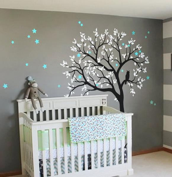 big owl screaming star tree kids nursery decor wall decals wall art FIZRZDP