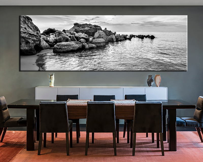 large wall art 1 piece large canvas, dining room artwork, black and white canvas wall UFALUAG
