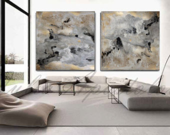 large wall art 90x45inch, abstract watercolor print, gold leaf painting, gold and black print, SXEFPMG