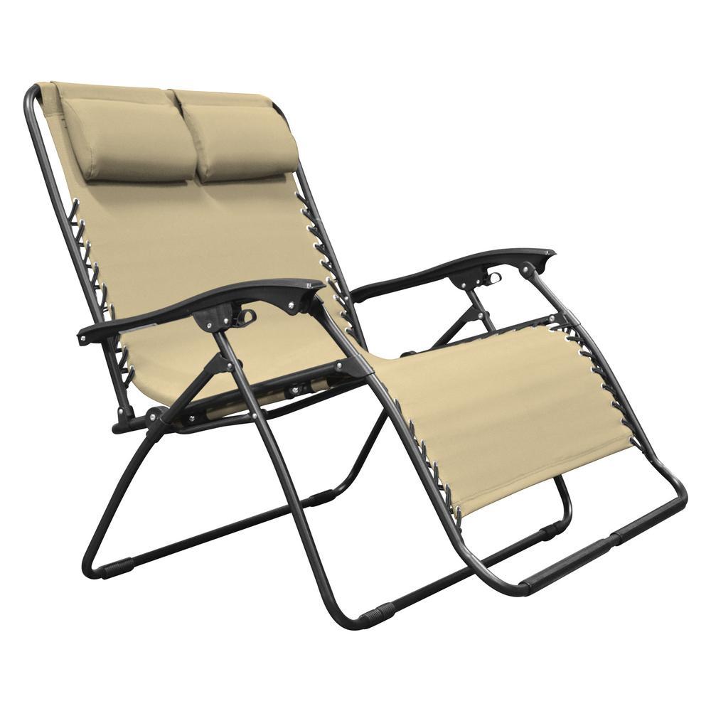Deck chair caravan Sport Infinity love seat beige metal textilene lounger YZKFNYJ