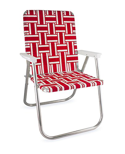Garden chair USA webbing chair (deluxe, red and white with white armrests) QDNSGEH