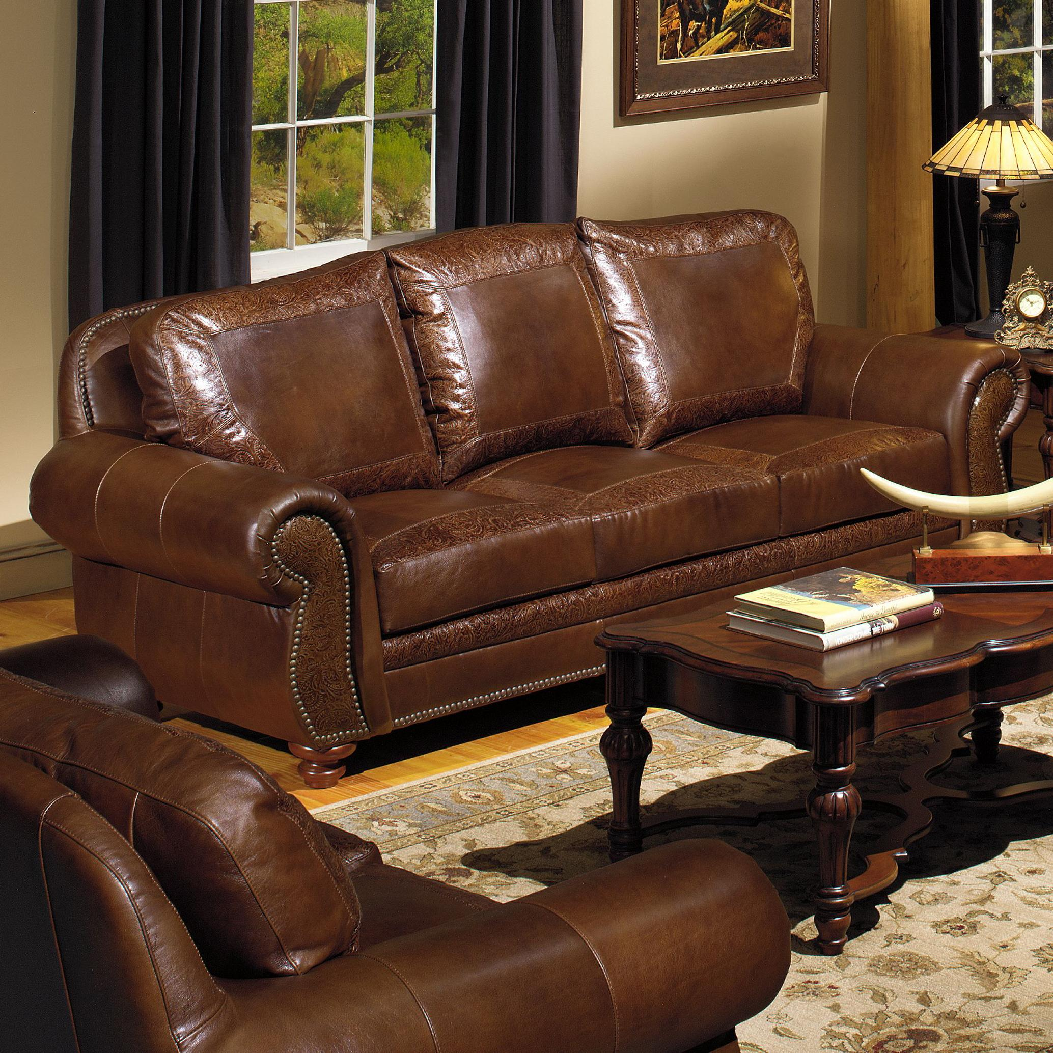 Leather furniture Traditional leather sofa with nail head trimming SXKKAFS