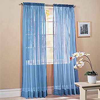 light blue curtains 2 pieces solid color sky blue transparent window curtains / drapes / panels / treatment 58 NXAOTSH