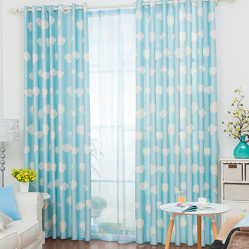 light blue curtains casual cloud pattern blue and white panel curtains QZMAULG