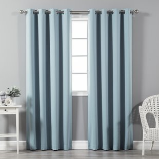 light blue curtains fixed blackout thermal eyelet curtain panels (set of 2) LIRXPZF