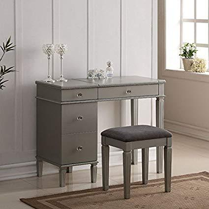Linon Alexandria bedroom vanity set in silver CWEAVQT