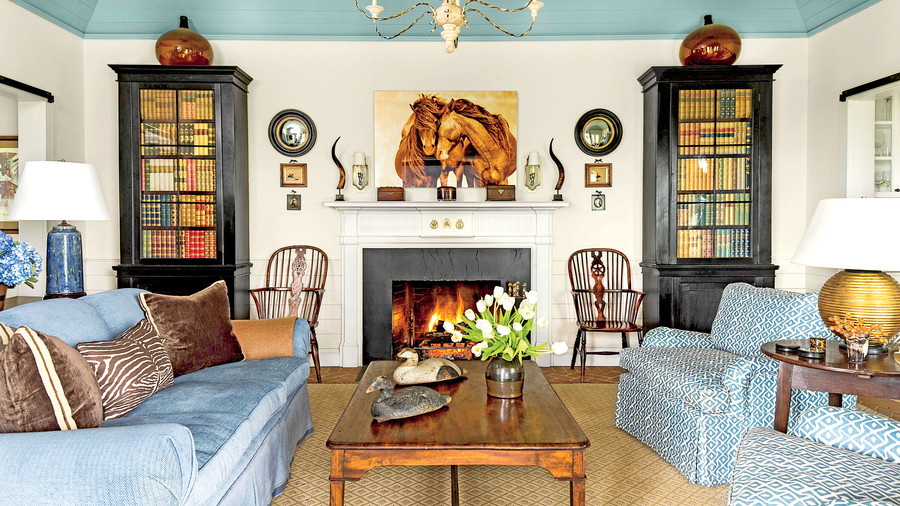 Living room decoration ideas blue and white living room HJZFLQY