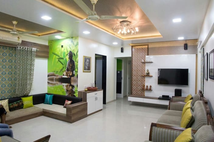 Living room design living room with studio sofa and LED ceiling light in false ceiling KUVOSVC