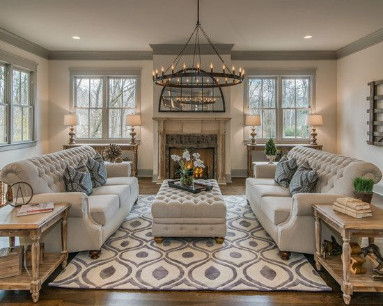 Living room: elegant formal living room themed two sofas.  IDOUFGM