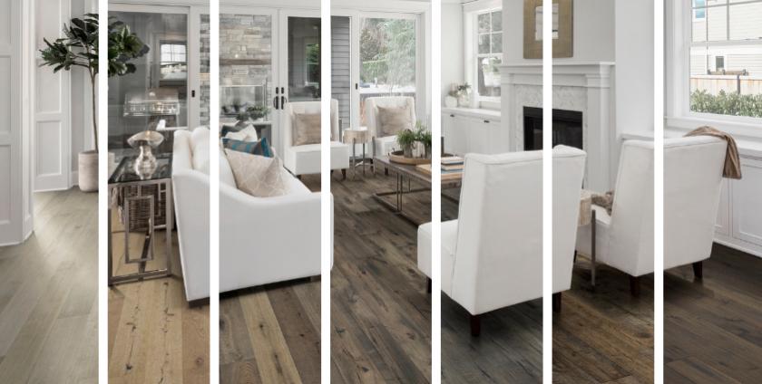 One living room, seven ways |  Living room hardwood floor idea
