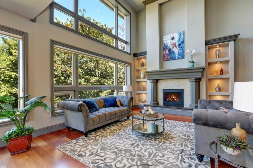 Living room carpets 2-story living room with large carpet MNEVJYH
