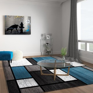 Living room rugs contemporary modern boxes blue / gray carpet - 7u002710 WIBRZHT