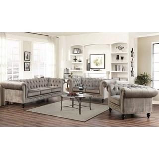 Living room sets Abbyson Grand Chesterfield gray velvet 3-piece living room set HMUEOSL