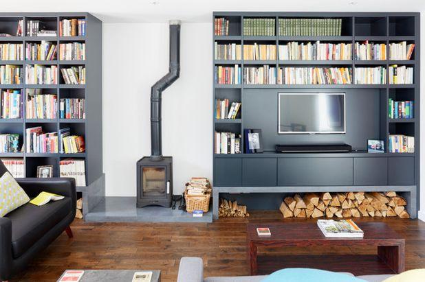 Living room shelves Modern living room by granite architects PRBOWTU