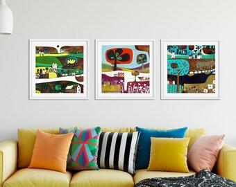 Living room wall art set of 3 paintings, square giclee prints, set IFLODGS