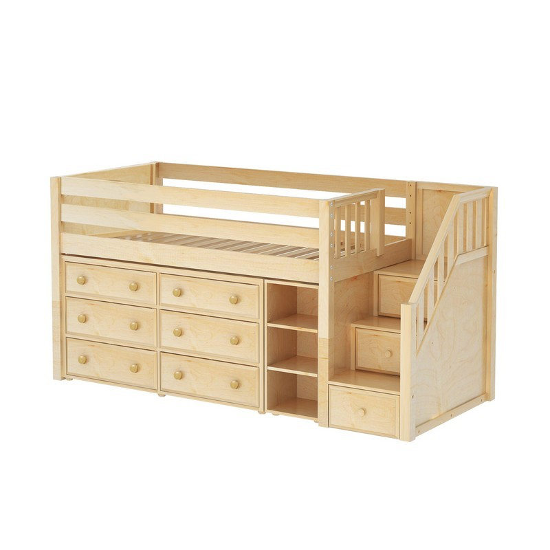 Loft beds great1 np: low loft bed with stairs, 6 drawers & narrow PNRKUZE