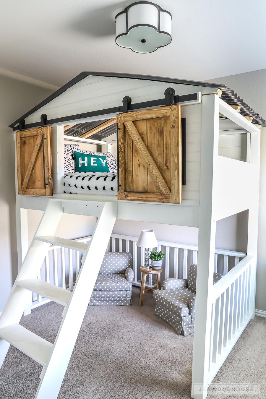 Loft beds, how to build a DIY loft bed with sliding doors KPQJOTA