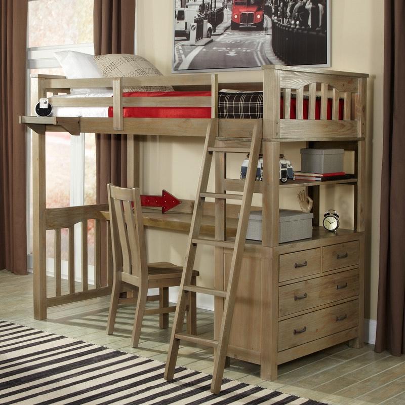 Loft beds Twin Highlands Driftwood loft bed with desk option.  AVKJEBS