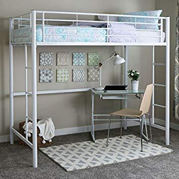Loft beds Walker Edison Twin metal loft bed, white YMJXLLQ