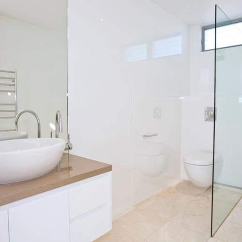 Lustrolite Arctic White high gloss bathroom wall panels LWGIAOR