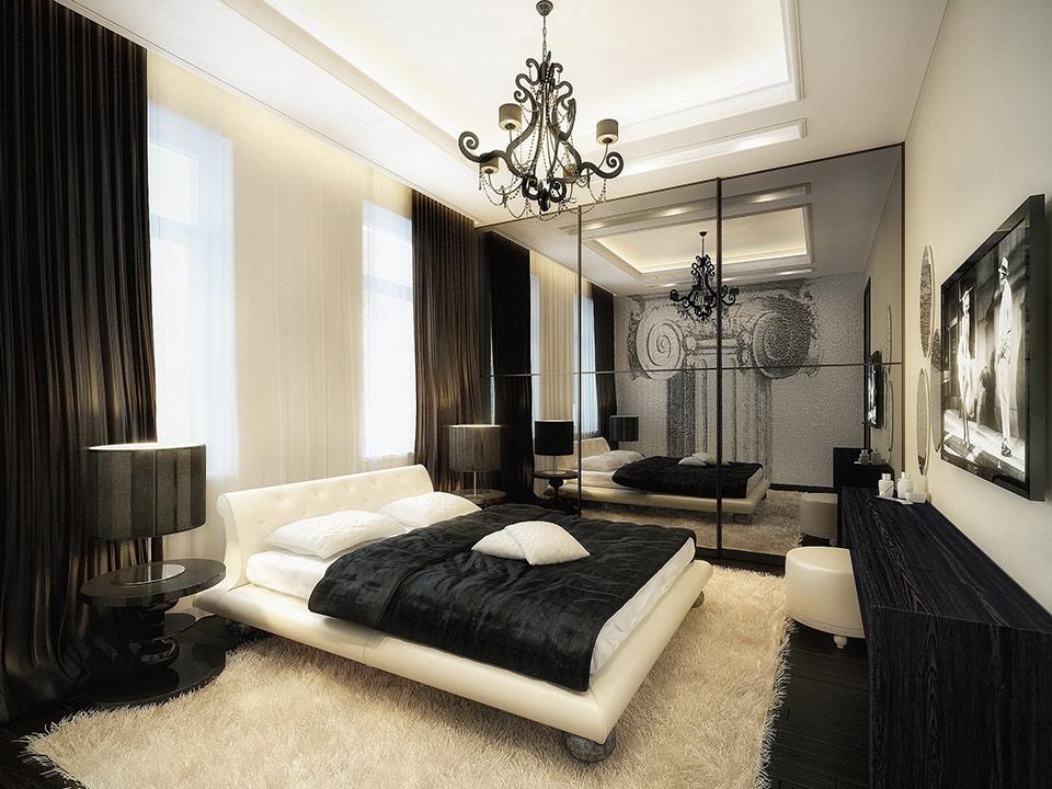luxurious black and white bedroom STLJOSR