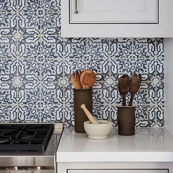 Blue Mediterranean Mosaic Kitchen Back Wall Tiles Design Idea