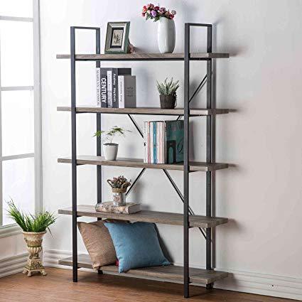 Metal bookcase hsh Furniture 5-shelf vintage industrial rustic bookcase, wood and metal bookcase, LLQFUPK