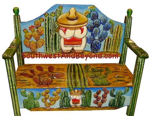 mexican furniture carved hand-painted mexican benches SPZZPURP