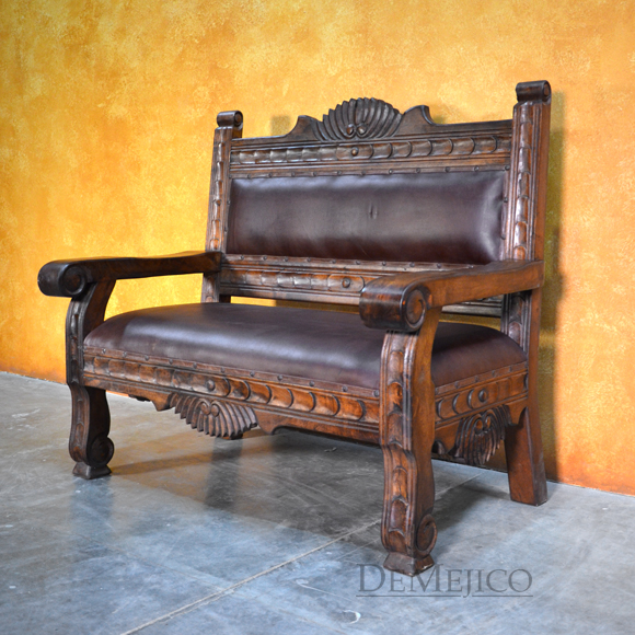 mexican furniture santa fe bench, carved benches, mexican benches, southwest furniture, mexican furniture WIEBNUT
