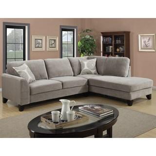 Microfiber sectional sofa Porter Reese Dove-gray sectional sofa with optional Ottoman MYTHBRO