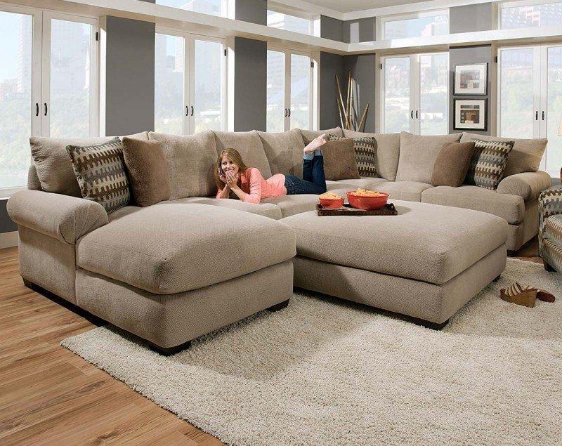 Microfiber sectional sofa with ottoman LIKFNXC
