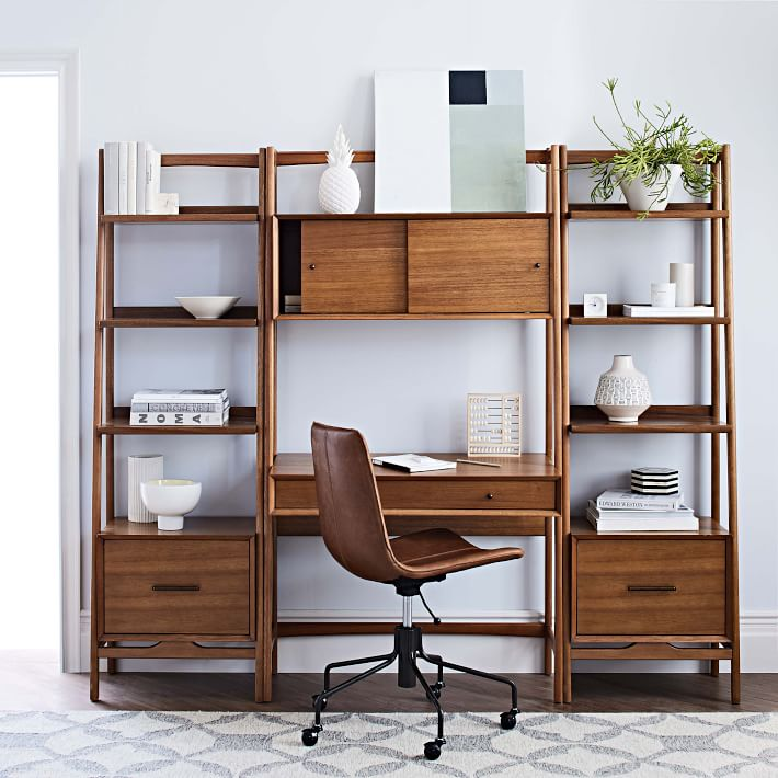 Mid-Century Wall Desk + Shelf Set - Narrow    Western elm AQZRPTW