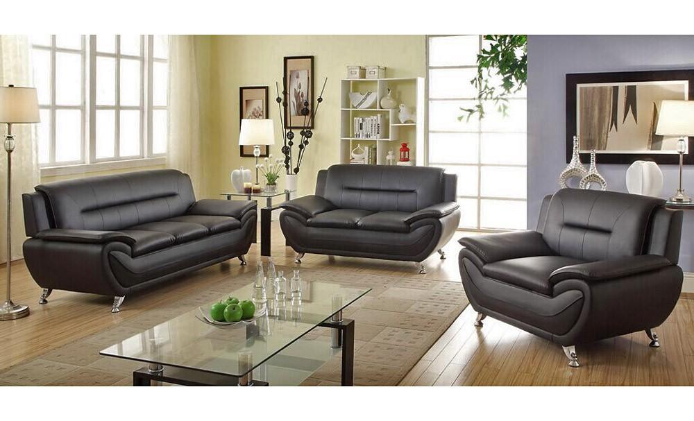 mina modern black leather sofa set JVDFJYE